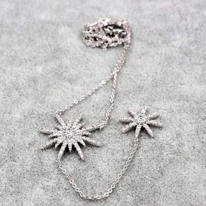 Ocean Fashion Jewelry - Sterling silver starfish crystal necklace